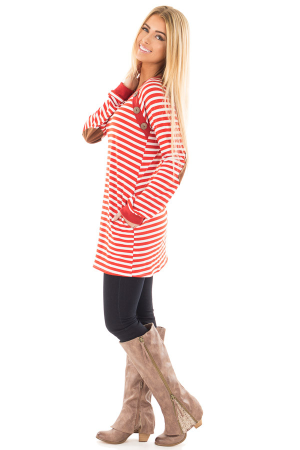 Rusty Red Striped Tunic with Button Detail and Pockets side full body