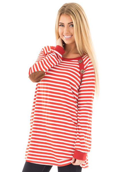 Rusty Red Striped Tunic with Button Detail and Pockets front close up