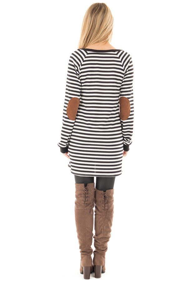 Black and White Striped Tunic with Button Detail and Pockets back full body