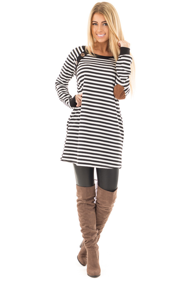 Black and White Striped Tunic with Button Detail and Pockets front full body