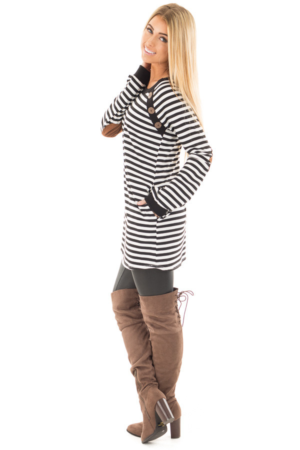 Black and White Striped Tunic with Button Detail and Pockets side full body