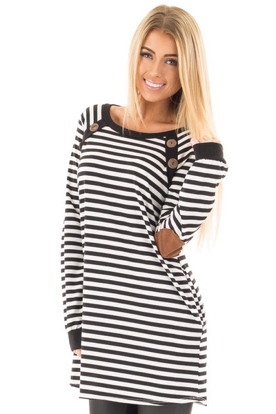 Black and White Striped Tunic with Button Detail and Pockets front close up