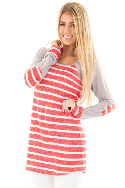 Red and Ivory Stripe Top with Heather Grey Baseball Sleeves front close up