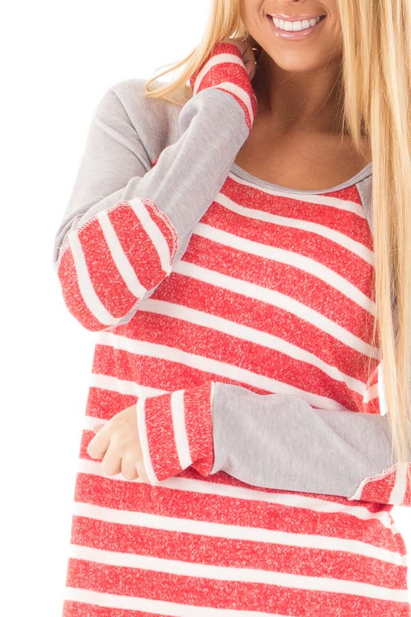 Red and Ivory Stripe Top with Heather Grey Baseball Sleeves detail