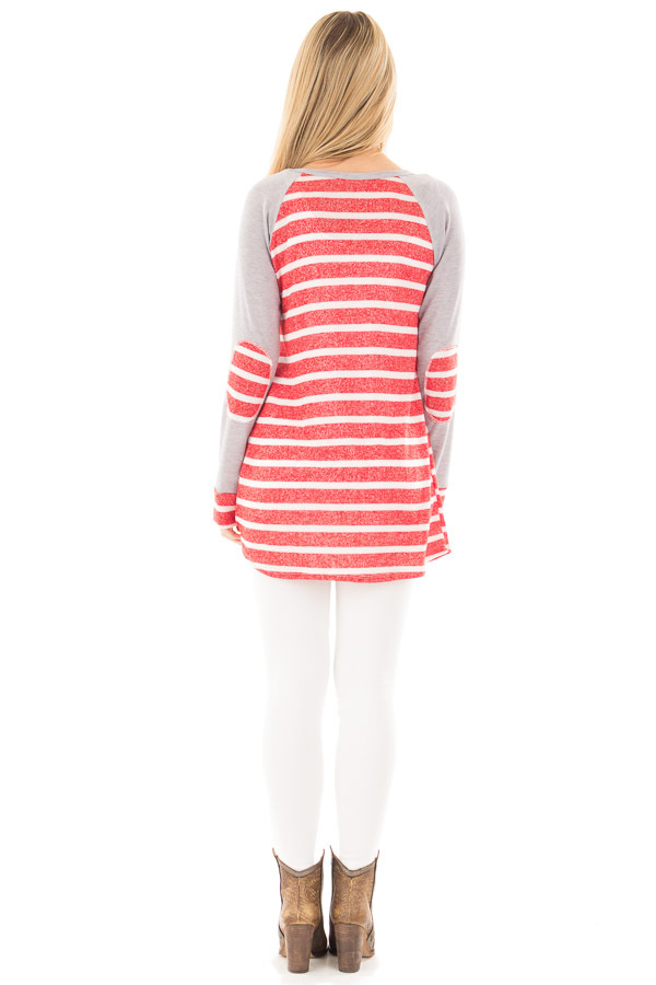 Red and Ivory Stripe Top with Heather Grey Baseball Sleeves back full body