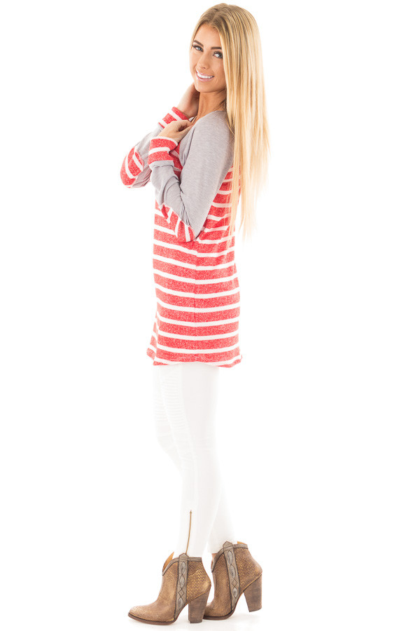 Red and Ivory Stripe Top with Heather Grey Baseball Sleeves side full body