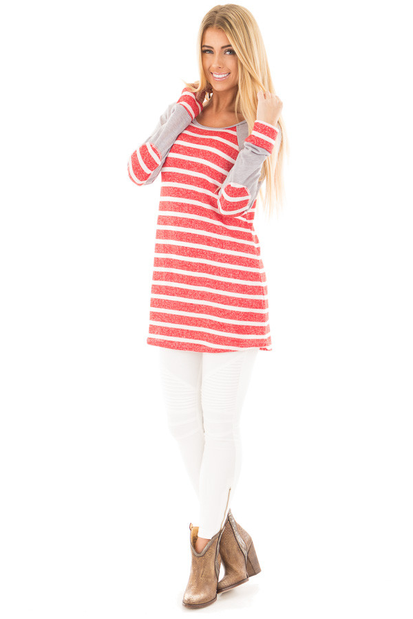 Red and Ivory Stripe Top with Heather Grey Baseball Sleeves front full body