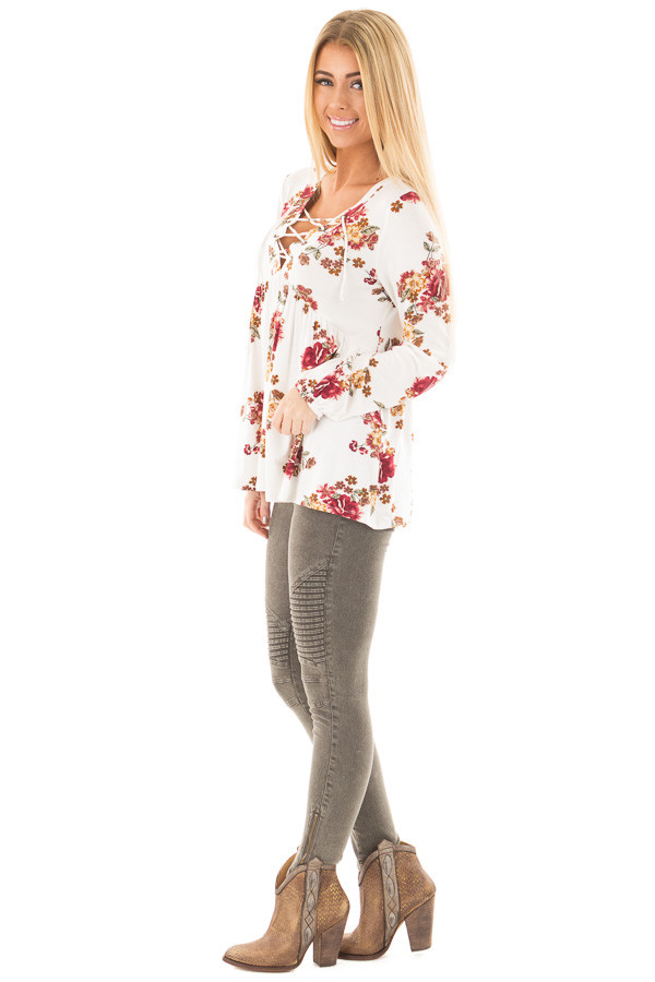 Ivory and Burgundy Floral Lace Up Top with Gathered Waist side full body