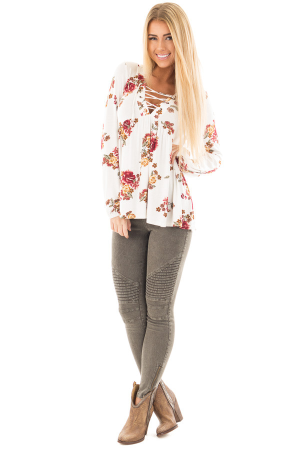 Ivory and Burgundy Floral Lace Up Top with Gathered Waist front full body