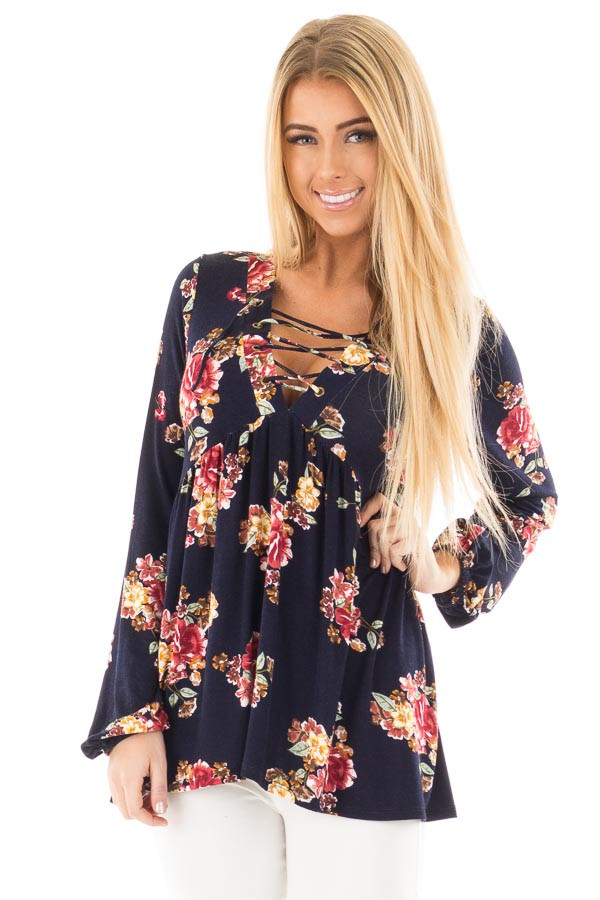 Navy and Burgundy Floral Lace Up Top with Gathered Waist front close up