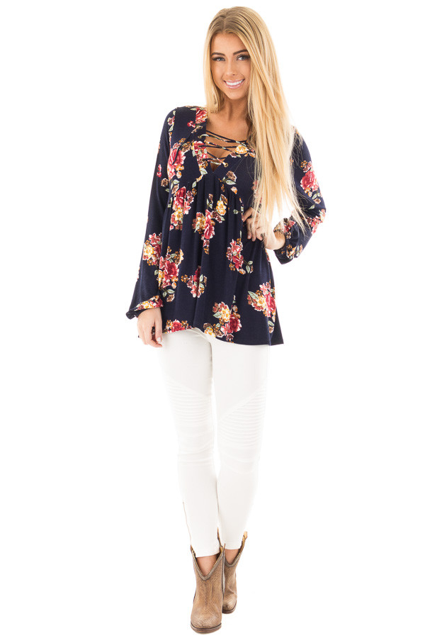 Navy and Burgundy Floral Lace Up Top with Gathered Waist front full body