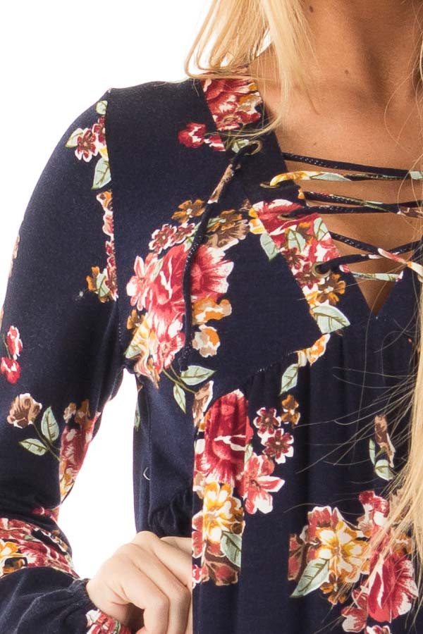 Navy and Burgundy Floral Lace Up Top with Gathered Waist detail
