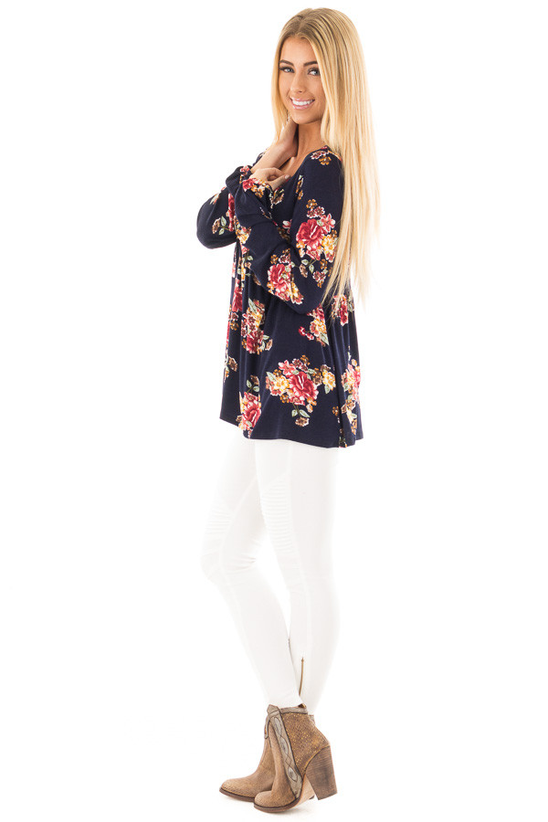 Navy and Burgundy Floral Lace Up Top with Gathered Waist side full body