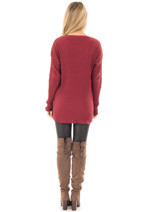 Burgundy Ribbed Lace Up Long Sleeve Tunic back full body