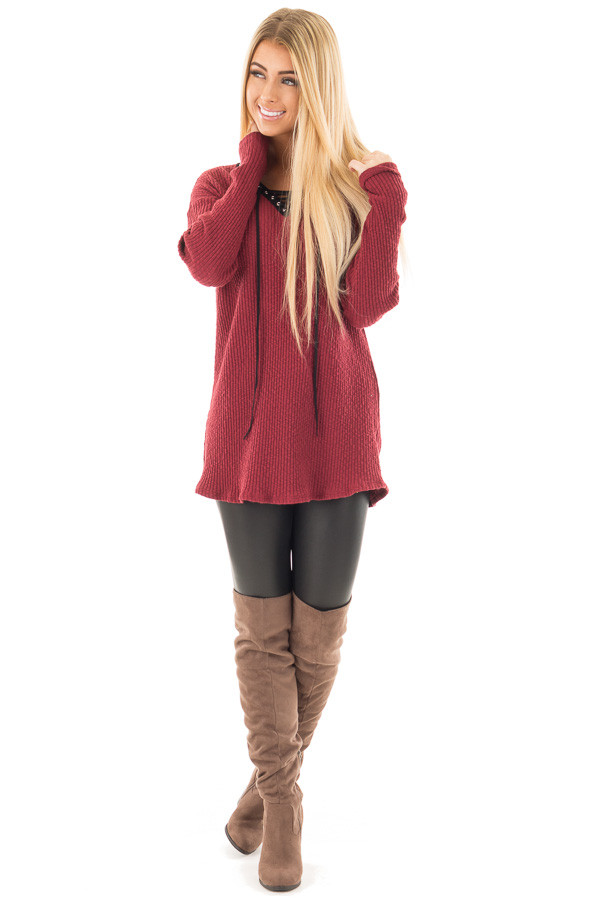 Burgundy Ribbed Lace Up Long Sleeve Tunic front full body