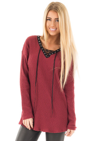 Burgundy Ribbed Lace Up Long Sleeve Tunic front close up