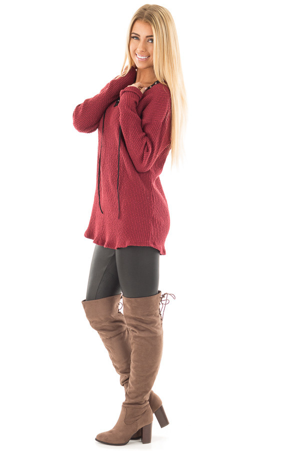 Burgundy Ribbed Lace Up Long Sleeve Tunic side full body