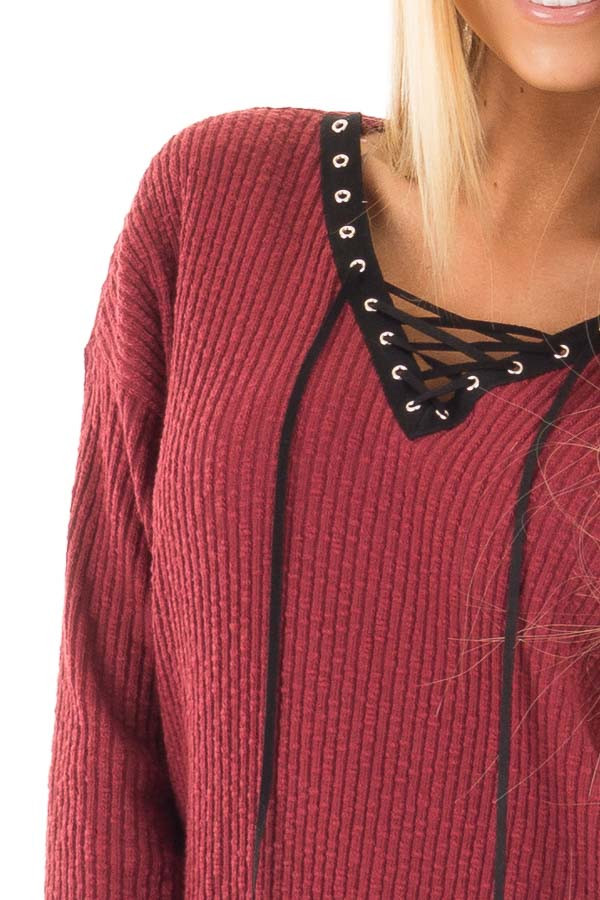 Burgundy Ribbed Lace Up Long Sleeve Tunic detail