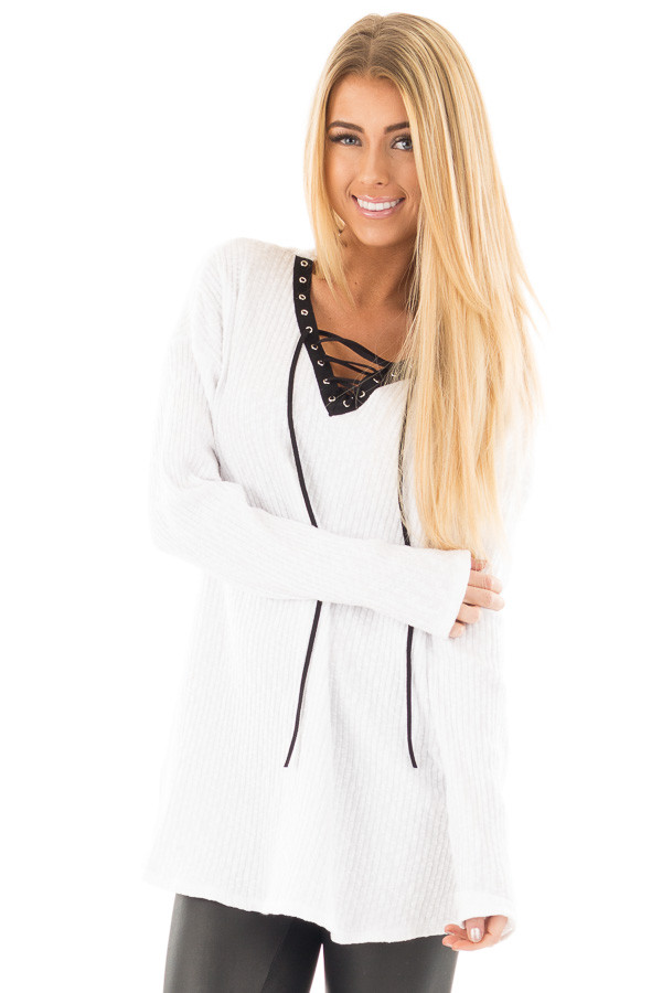 White Ribbed Lace Up Long Sleeve Tunic front close up