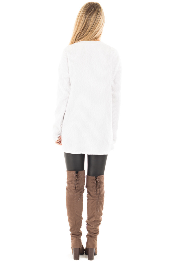 White Ribbed Lace Up Long Sleeve Tunic back full body