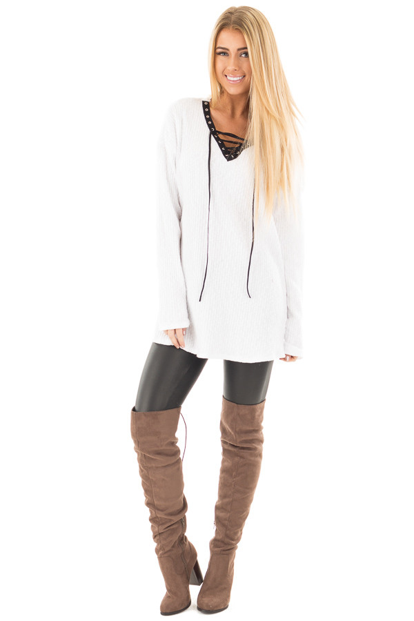 White Ribbed Lace Up Long Sleeve Tunic front full body