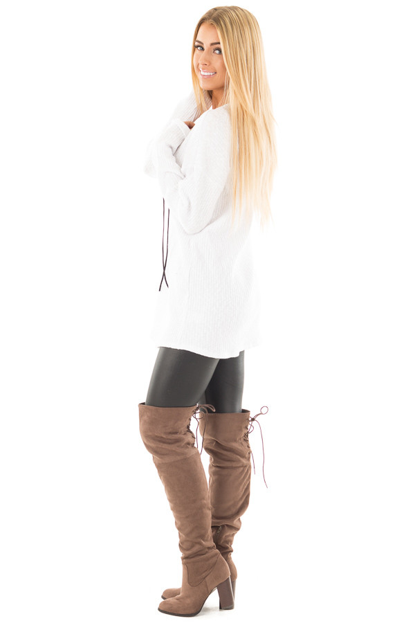 White Ribbed Lace Up Long Sleeve Tunic side full body