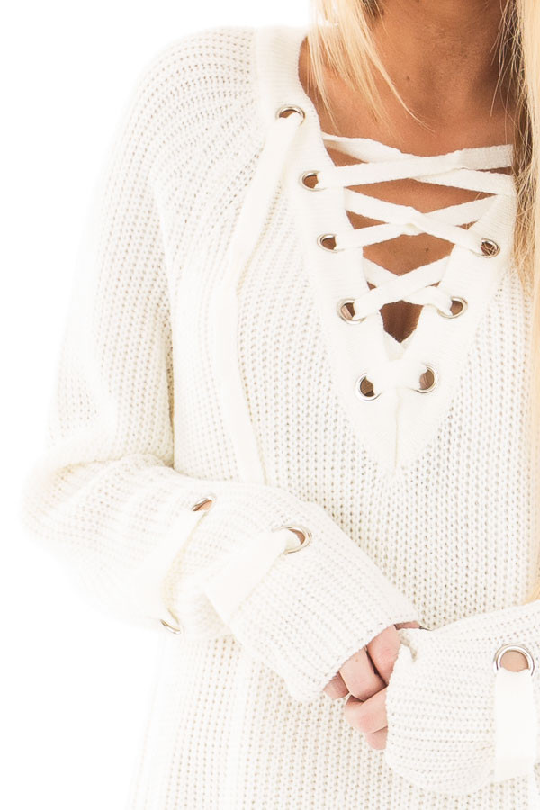 Cream Long Sleeve Knit Sweater with Lace Up Details detail