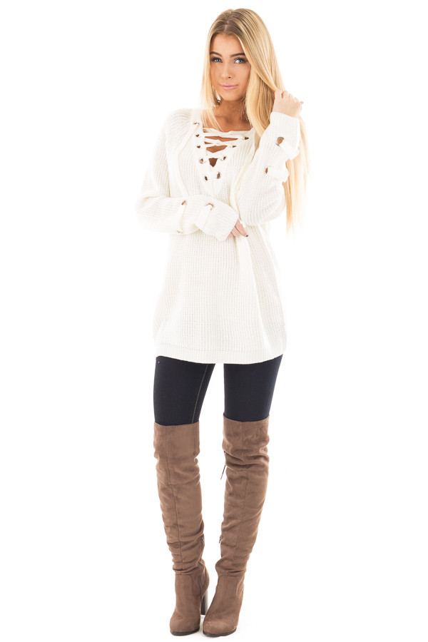 Cream Long Sleeve Knit Sweater with Lace Up Details front full body