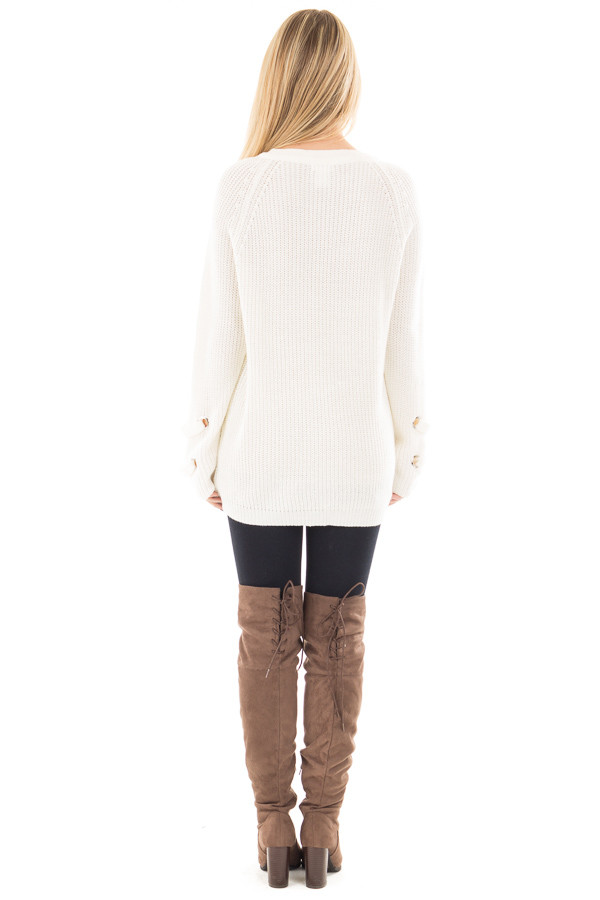 Cream Long Sleeve Knit Sweater with Lace Up Details back full body