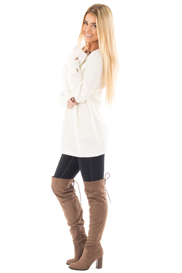 Cream Long Sleeve Knit Sweater with Lace Up Details side full body