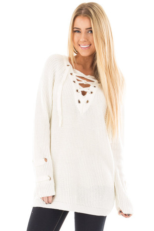 Cream Long Sleeve Knit Sweater with Lace Up Details front close up