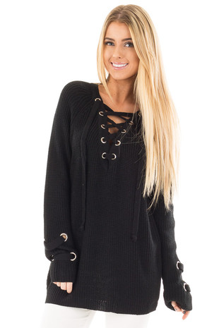 Black Long Sleeve Knit Sweater with Lace Up Details front close up