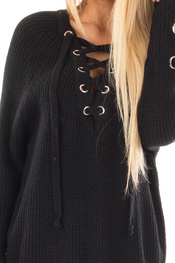 Black Long Sleeve Knit Sweater with Lace Up Details detail