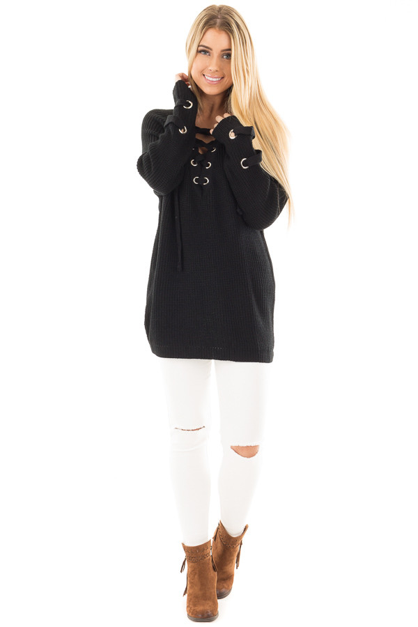 Black Long Sleeve Knit Sweater with Lace Up Details front full body