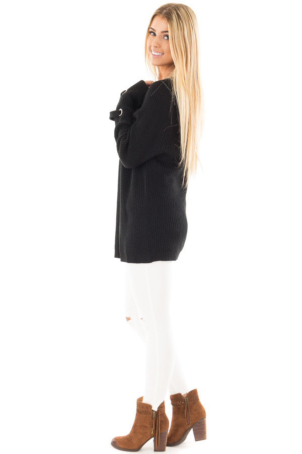 Black Long Sleeve Knit Sweater with Lace Up Details side full body