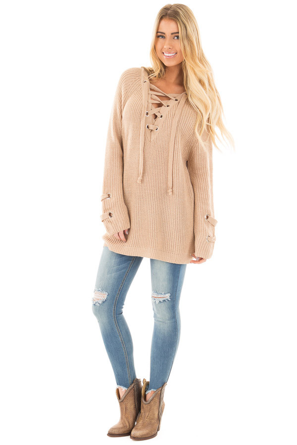 Beige Long Sleeve Knit Sweater with Lace Up Details front full body