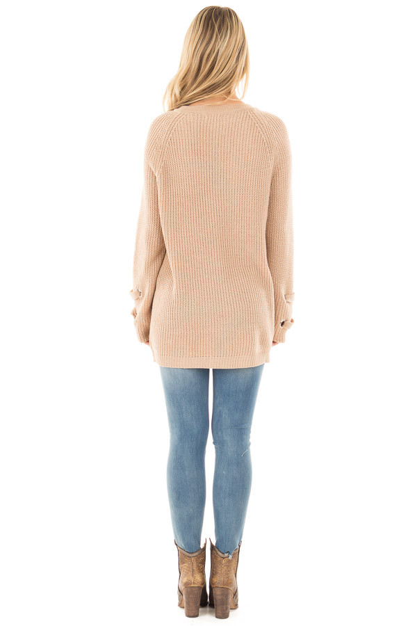 Beige Long Sleeve Knit Sweater with Lace Up Details back full body