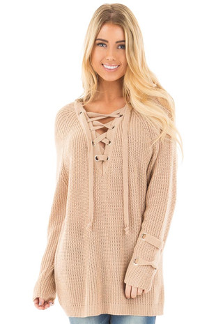Beige Long Sleeve Knit Sweater with Lace Up Details front close up