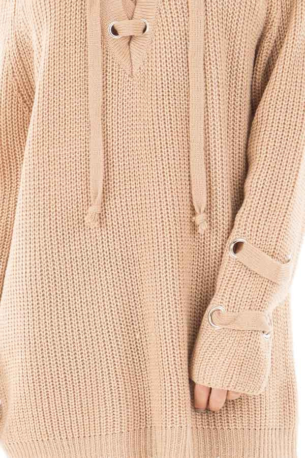 Beige Long Sleeve Knit Sweater with Lace Up Details detail