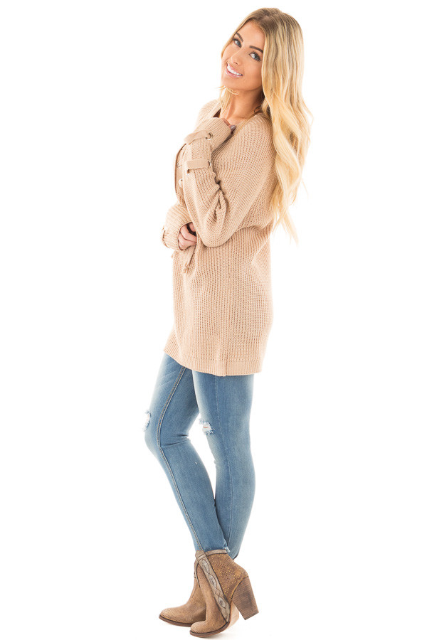 Beige Long Sleeve Knit Sweater with Lace Up Details side full body