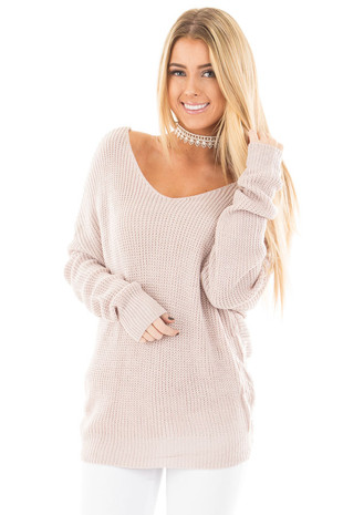 Light Mauve Knit Sweater with Twist Back Detail front close up