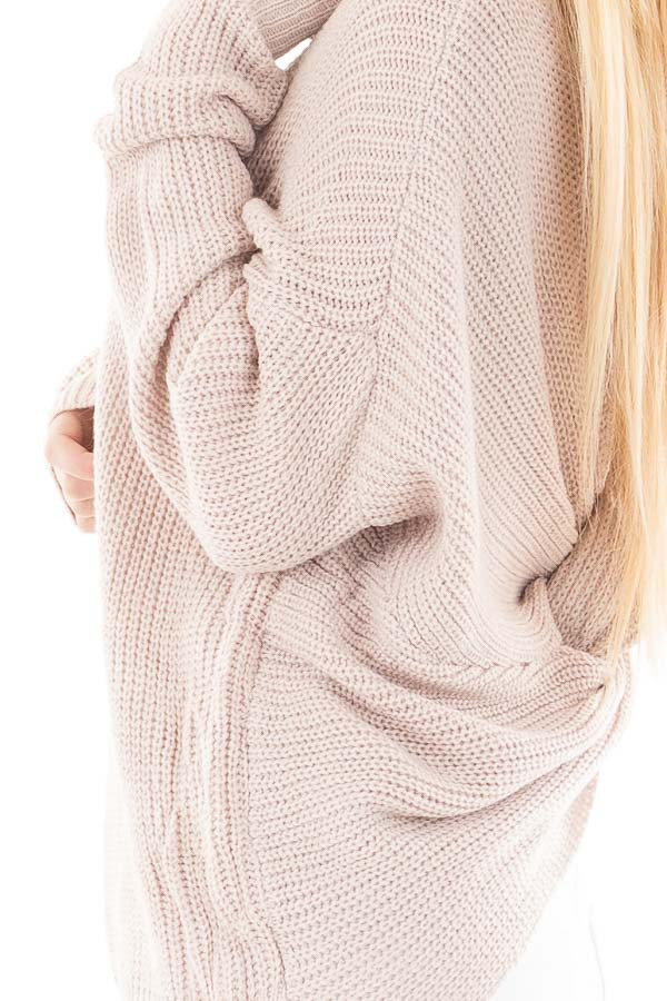 Light Mauve Knit Sweater with Twist Back Detail detail
