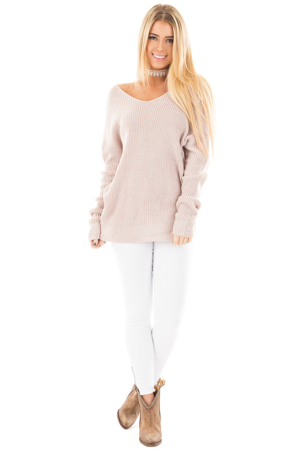 Light Mauve Knit Sweater with Twist Back Detail front full body