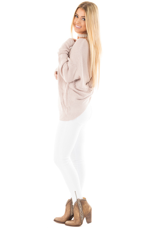 Light Mauve Knit Sweater with Twist Back Detail side full body