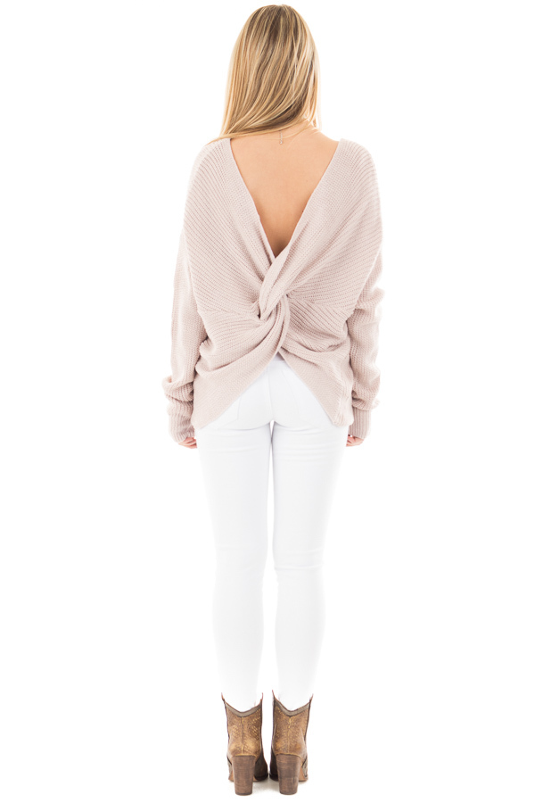Light Mauve Knit Sweater with Twist Back Detail back full body