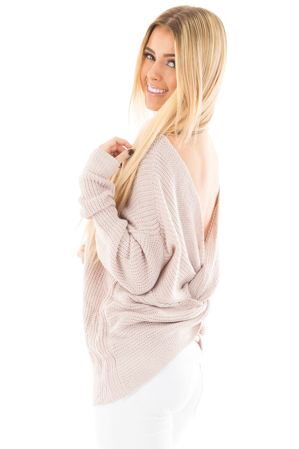 Light Mauve Knit Sweater with Twist Back Detail side close up