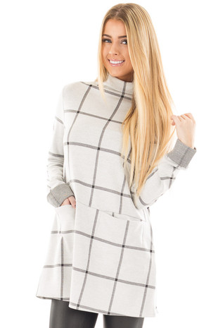 Pale Grey and Charcoal Plaid Mock Neck Tunic with Pockets front close up