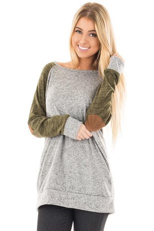 Olive and Cement Raglan Sweater with Faux Suede Elbow Patches front close up