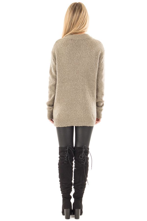 Dusty Olive Two Tone Sweater with Lace Up Neckline back full body
