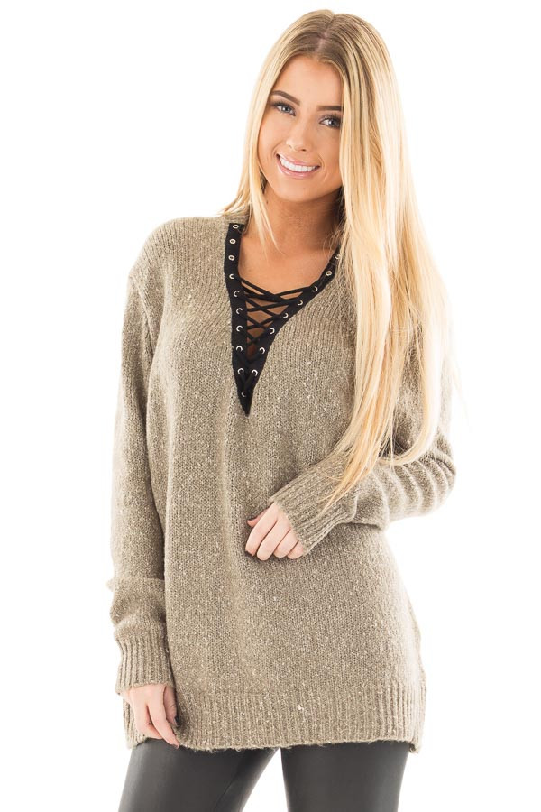 Dusty Olive Two Tone Sweater with Lace Up Neckline front close up